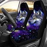 chaqlin Galaxy Animal Wolf Autositzschutz Für Universal Fit Auto Autositzbezüge Schutz Für Auto LKW Geländewagen 2 Vordersitzbezug