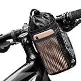 Caudblor Bike Water Bottle Holder Bag for Kid Adult, Insulated Bicycle Coffee Cup Holders with Phone Storage, Black Handlebar Drink/Beverage Container for Walker/Cruiser/Exercise/Mountain Bike…