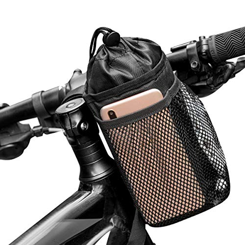 Caudblor Bike Water Bottle Holder Bag for Kid Adult, Insulated Bicycle Coffee Cup Holders with Phone Storage, Black Handlebar Drink Beverage Container for Walker Cruiser Exercise Mountain Bike…