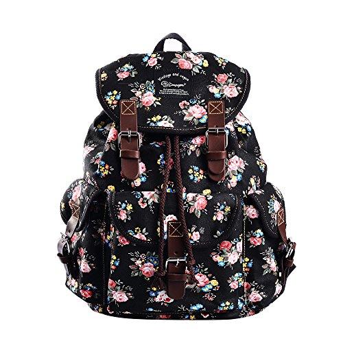 Epokris Teen Girls School Bookbag Rucksack Casual Daypack Floral Backpack for Elementary 297A (Black-2)