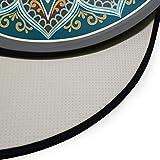 Mnsruu Boho Mandala türkis rund Bereich Teppich für Wohnzimmer Schlafzimmer 3' Durchmesser (92 cm) - 4