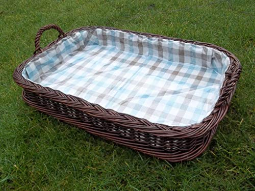 Wicker Serving Tray Dark Brown with Lining