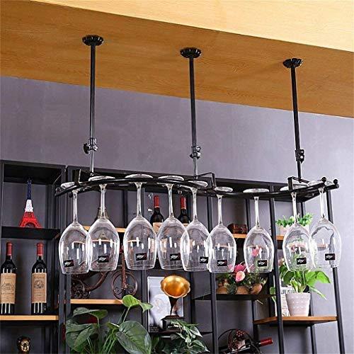 FBBSZSD Estante para Vino Estante de Pared Metal Hierro Almacenamiento en el Techo Estantes para Vino Colgantes para Botellas de Vino y Vasos Soporte para Vino Soporte para Copas de Vino E