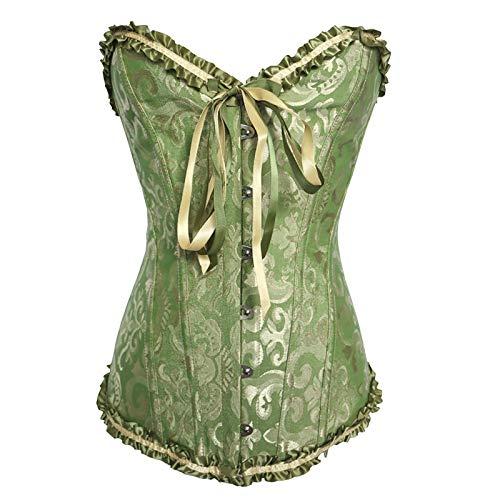 ZouYiL - Corsé para mujer, cintura clásica, de satén, blusa de cintura, con encaje, sexy, vintage, con cordones, corpiño para moldear el cuerpo, tallas grandes #03/verde XL