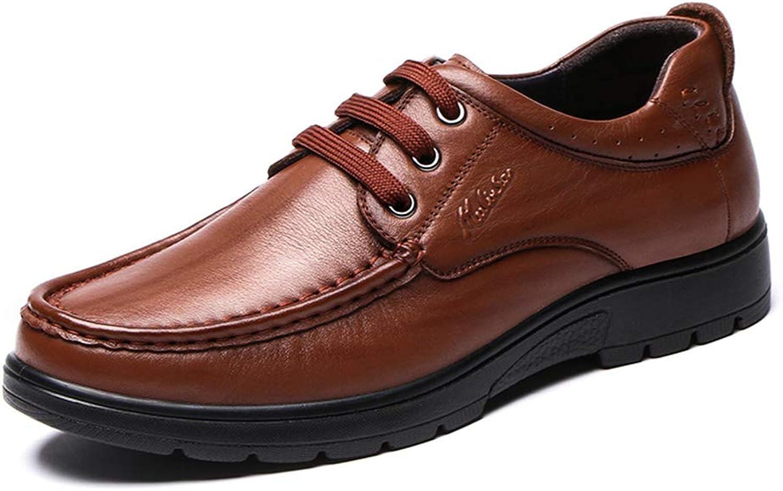 LXLA- Men's Business Casual Lace Up Leather shoes, Mens Comfortable Formal Dress shoes for Men (color   Brown, Size   43)
