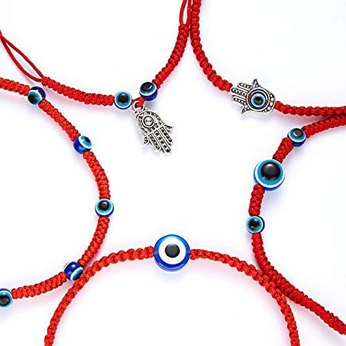 Pulsera 5 Estilo Trenzado a Mano Suerte Cadena roja Encanto Pulsera Mujeres Hombres Azul Mal Ojo Redondo Cuentas Pulsera Moda joyería de la Amistad 5 pcs