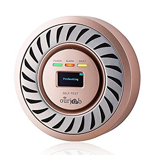 CO Melder kohlenmonoxid warnmelder, elektrochemischer Sensor CO Warnung, USB Lithium Akku CO Gas Prüfvorrichtung, Kohlenmonoxid Monitor mit OLED Digitalanzeige für Haus/Privatwagen/Garage(Champagner)