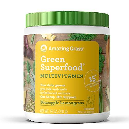 Preisvergleich Produktbild Amazing Grass Green Superfood Multivitamin Pineapple Lemongrass,  30 Servings,  7.4 Ounces