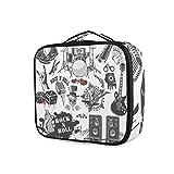 LUPINZ Bolsa de cosméticos con símbolos Rock And Roll Clutch de maquillaje, organizador de viaje para niña