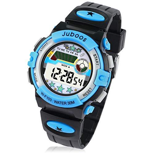 Jungen Digitaluhren, 7 Farben LED Licht Mädchen Uhr Wasserdicht Kinderuhren Mädchen Junge Digital Sportuhren Armbanduhr für Sport Outdoor Alter 2-16 (001 Black)