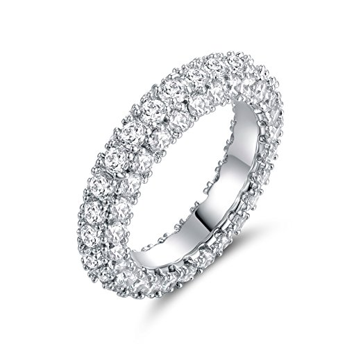 3 Row Eternity Ring Wedding Band | Barzel 18k White Gold Plated Cubic Zirconia Eternity Band Ring Jewelry (Silver, 8)