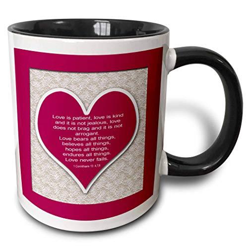Corazón rojo y versículo bíblico sobre el amor sobre un f