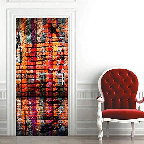 3D Etiqueta de Puerta -Azulejos de Pared Creativos-Autoadhesiva Extraíble de Diy Murales Pegatinas de Pared decoración de Hogar Arte Moderno Vinilos Puerta Pegatina 90X200Cm