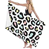 zhengshaolongG Toalla de baño Colorful Leopard Animal Skin Pattern Microfiber Beach Towels Quick Dry Super Absorbent Bathing SPA Pool Towels,130X80CM