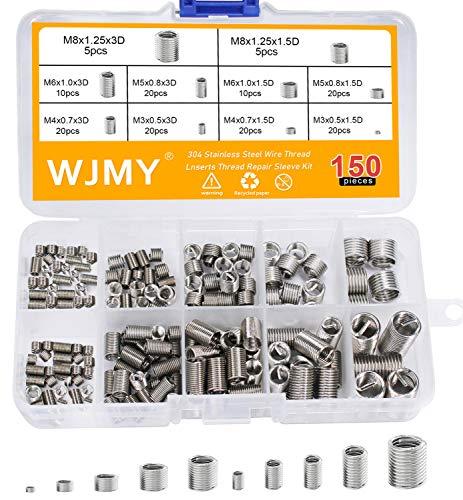WJMY Helicoil Set Gewinde Reparatur Einsatz Sortiment 150 Stücke gewindereparatursatz M3 M4 M5 M6 M8 Heli-coil Typ Free Laufdraht Gewinde(10 Größen)