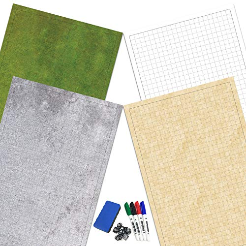 """RPG Battle Game Mat│Roleplaying Dry-Erase Grid Map for Dungeons & Dragons, Pathfinder & MMORPG Role Play Games│4 Tabletop Adventure Gaming Terrains│24""""x36""""│4 Markers, 1 Eraser, 7 Polyhedral Dice"""