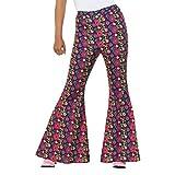 Pantalones acampanados para dama | En talla M (ES 40/42) | Increíbles pantalones con bota campana para mujer Flower power | El centro de atención en fiestas de los años 70 y movimientos retro