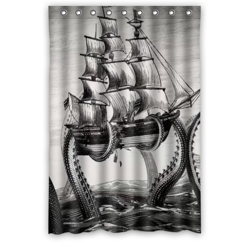 """Generic Personalized Sailing Big Octopus on the Sea Black and White Vintage Style Sold By Too Amazing Shower Curtain Bath Decor Curtain 48 """" x 72 """""""