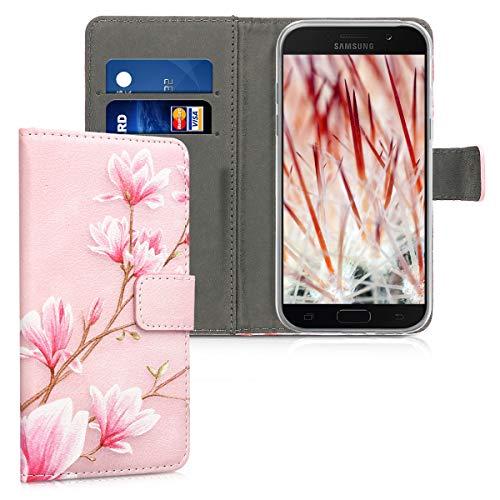 kwmobile Hülle kompatibel mit Samsung Galaxy A5 (2017) - Kunstleder Wallet Case mit Kartenfächern Stand Magnolien Rosa Weiß Altrosa