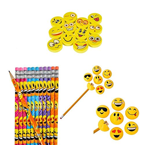 Rhode Island Novelty Emoji Party Favor Pencil, Eraser and Sharpener Gift Set, 36-Piece