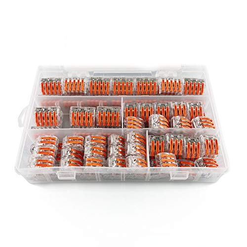 Reusable Push-in Cable Conductor Compact Wire Connectors Assortment 90 Pcs-2 3 5 Port,Household Lever-Nut Terminal Block for Solid,Stranded,Tin Bonded Wire