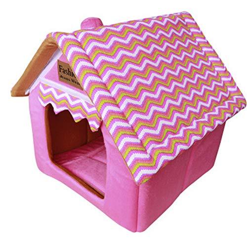 Haustierhütte aus hochwertigem Plüschstoff in 6 5 Größen – waschbares & kratzfestes Haus für Hunde und Katzen (Style 1, L)