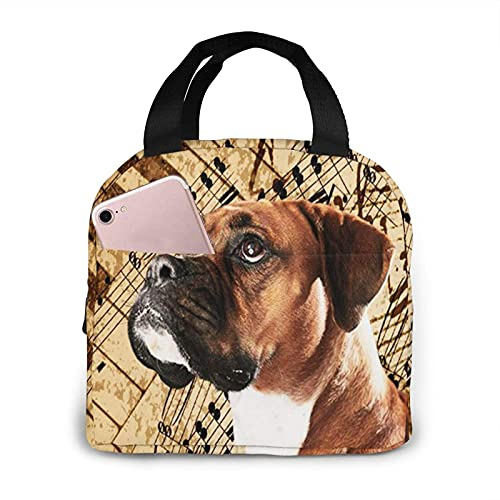 Insulated Lunch Bag for Women Men Boys Girls Lovely Boxer Dog Music Notes Piano, Reusable Lunch Tote Lunch Box Organizer Cooler Bag Container for School Work Travel Picnic