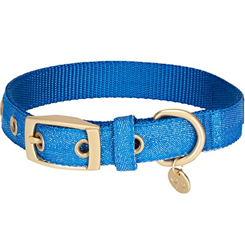 Blueberry Pet The Most Coveted Designer Mixed Metallic Thread Dog Collar in Sparkling Azure Blue with Metal Buckle, Medium, Neck 33cm-42cm, Adjustable Collars for Dogs