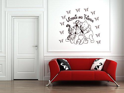 Personnalisé Winnie l'Ourson et amis Piglet, Eeyore et Tiger sticker mural pour chambre d'enfant, sticker Winnie l'ourson.