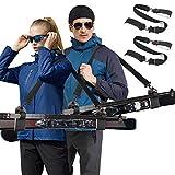 Odoland 2 piezas Correas de Portador de Esquí, Ajustable Correa de Hombro para Esquís con Gancho y Lazo Acolchados Duraderos para Proteger los Esquís de Rasguños, Equipo y Accesorios para Esquí Alpino