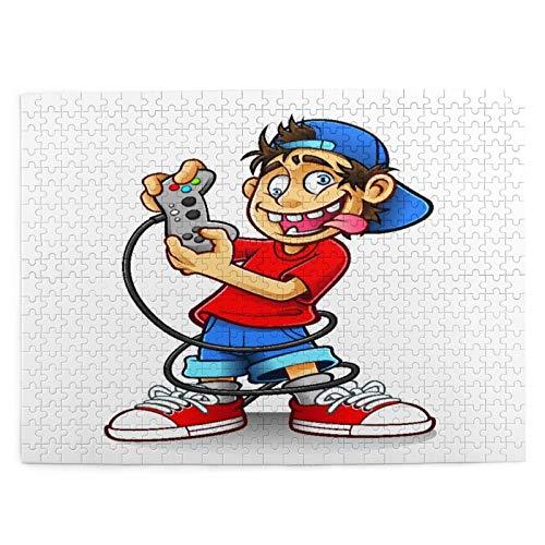 Rompecabezas con Imágenes 500 Piezas,Personaje de dibujos animados de jugador con sombrero al revés y ojos locos jugando videojuegos Doodle divertido,Juego Familiar Arte de Pared Regalo,20.4' x 15'