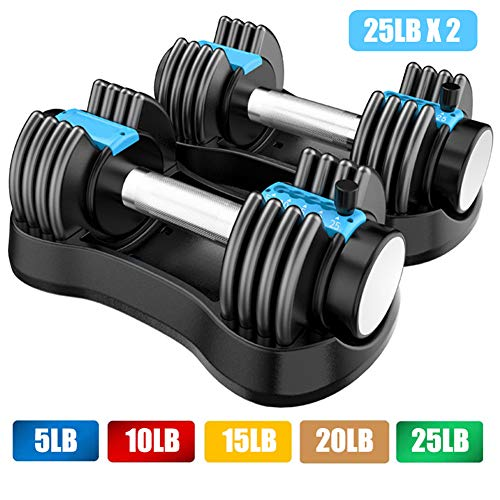 WISDOM LIFE Free Weights Set Adjustable Dumbbells Set for Men and Women Home Weight Set Fitness Dumbbell Set Strength Training 25 lbs with Anti-Slip Metal Handle and Tray Suitable,Blue,12.5lb x2