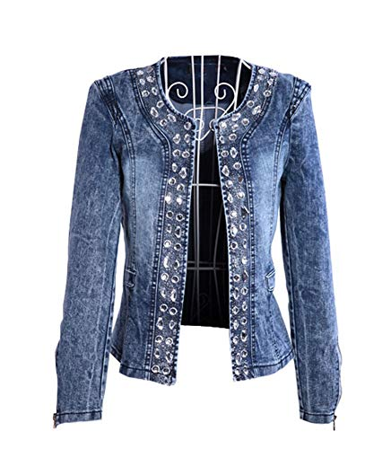 Damen Individuelle Künstlicher Strass Pailletten Denim Jeansjacke Mantel Outwear Tops Kurzshirt (EU 42 (Label 3XL))