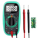 Digital Mini Multimeter Pocket Digital Multimeter with DC AC Voltmeter Battery Tester with Backlight Display,Ohm Volt Amp Test and Diode Tester Meter with Magnet in the Back and Insulated Rubber Case