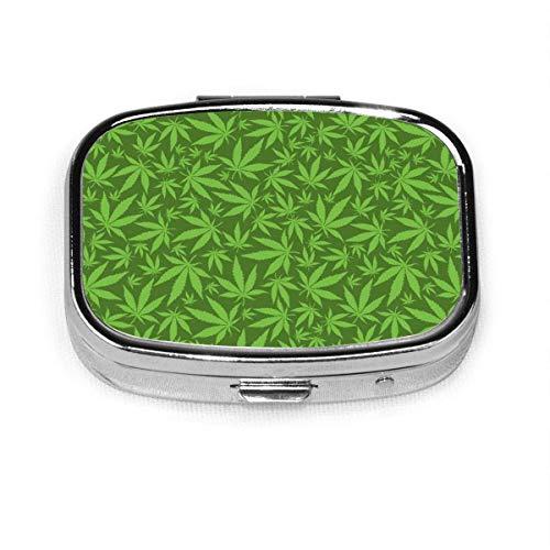 Pastillero cuadrado personalizado con hojas de marihuana en verde, diseño de marihuana