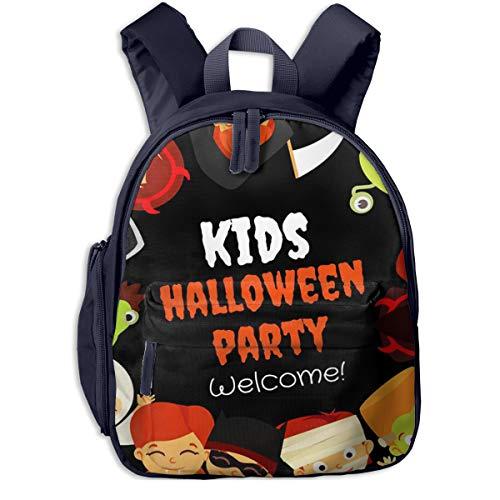 Sac à Dos pour Enfant Maternelle Déguisements Halloween Party Happy Kid Sacs D'école Bandoulière Réglable Unisexe Garçon Et Fille Cartable pour Quotidien Et Voyage