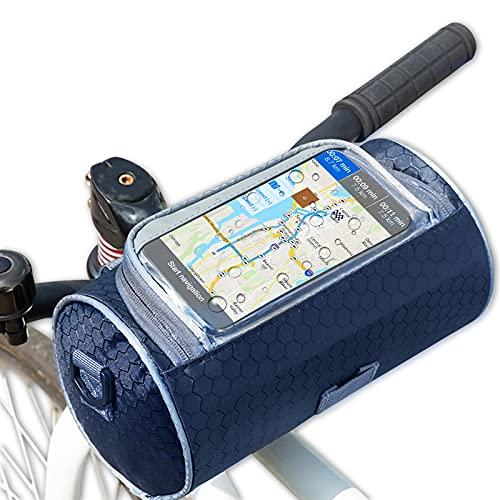 solawill Borsa Manubrio Bici ,Borsa per Manubrio da Bicicletta Impermeabile Multifunzione Borsa Portaoggetti Anteriore di Grande capacità con Touchscreen per Il Ciclismo MTB Biciclette Pieghevoli(Blu)