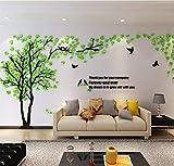 Árbol Pegatinas de Pared 3D Árbol Familia Marco de Fotos DIY Murales Stickers Decoración para Salón, Dormitorio, Oficina, Habitación Pegatinas Pared(Z Verde Izquierda,XL)