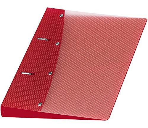 Veloflex 1151421 Ringordner Diamond, Ringbuch, DIN A5, 2-Ring-Mechanik, 20 mm, PP-Vollkunststoff, rot