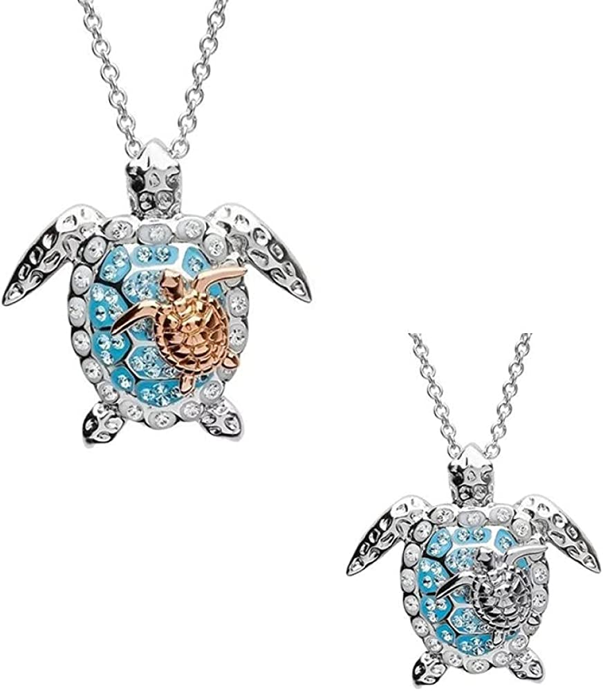 Two-color turtle necklace for men and women creative animal beach Creative jewelry 45cm