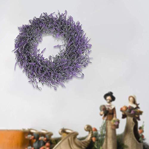 JTWEB Künstliche Lavendel Kranz Deko Türkranz,Künstlich Kranz Weihnachten Türkranz Künstlich Hängen Reben Blätter für Hochzeit, Party, Garten, Wanddekoration (#A)
