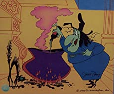 "Witch Hazel in Broomstick Bunny Warner Bros. Artwork. Ltd. Run Print Custom Matted to 8"" x 10"""