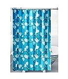 AueDsa Duschvorhänge Polyester Antischimmel 3D Wasserdicht Duschvorhänge Blume Blau Weiß Badvorhang Antischimmel 150x180CM