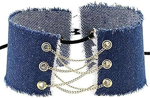 YOUZYHG co.,ltd Collar, Collar, Hecho a Mano, con Cordones, Lazo, Borla, Gargantilla de Mezclilla, Collar Vintage para Mujer, de Moda, Ancho, Empalme, Jeans, Collar, Collar, Regalo