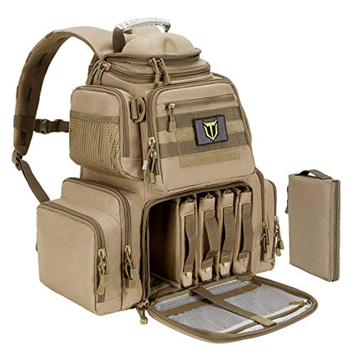 TIDEWE Tactical Range Backpack Bag for Gun and Ammo with Pistol Case (Khaki)