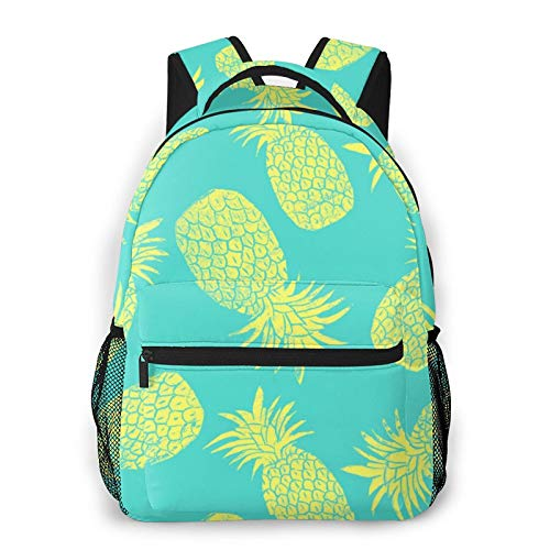 Big Capacity Backpack Anti-Theft Laptop Backpack Multipurpose Pineapple Pattern Mint Green Backpacks for Sports Outdoors Running Travel Hiking