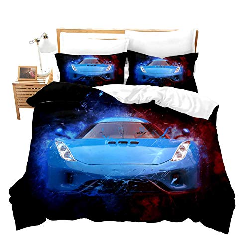 Feelyou Race Car Bedding Set Twin Size for Boys Kids Teens Men Speed Sports Car Decorative Extreme Sports Theme Comforter Cover with 1Pillow Shams Zippe Microfiber Blue Automobile Bedspread Cover