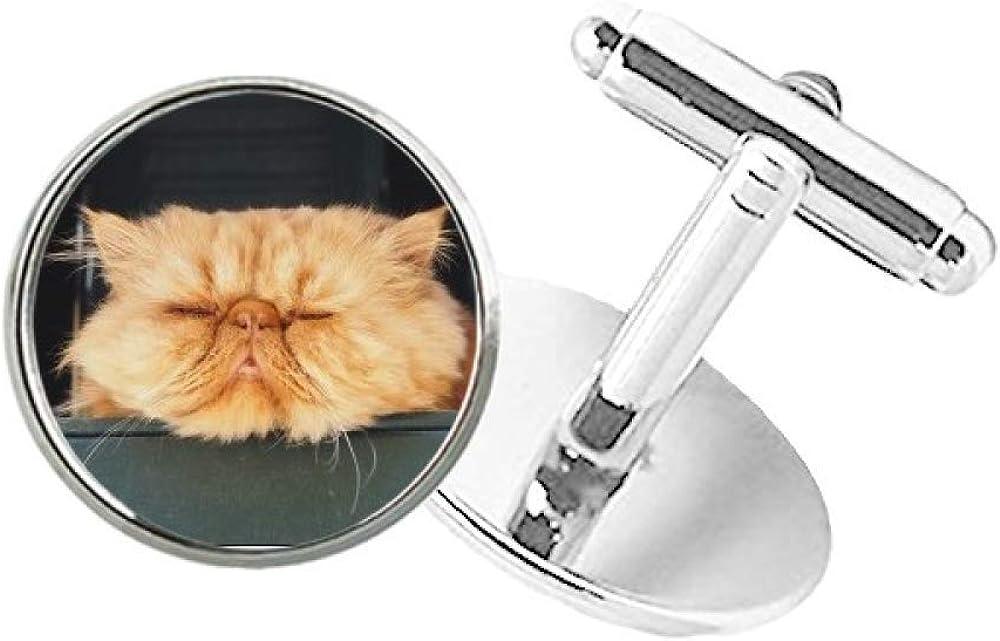 DIYthinker Animal Funny Yellow Cat Shoot Round Button Cuff Clip Stud Cufflinks