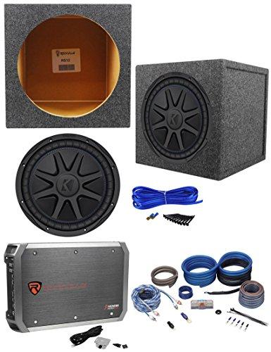 "Kicker 44CVX122 CVX 12"" 750w RMS Car Subwoofer+Sealed Sub Box+Amplifier+Amp Kit"