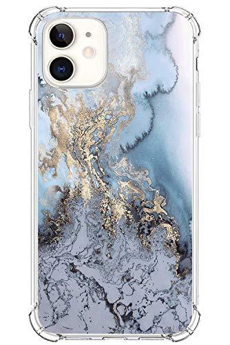 [Funda Protectora de la cámara] Case para Apple iPhone 12 MAX 2020 6.1' Funda, Ultra Thin Silicona Purpurina Clear Cristal mármol Carcasa Fina de Resistente a los arañazos Funda (7)
